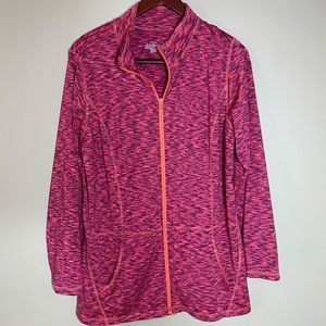 CJ Banks 1X Zip Sweatshirt Heathered Pink